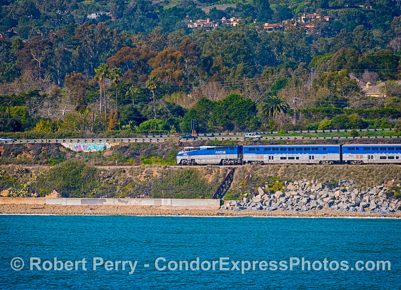"Ocean view of the ""Surfliner"" Amtrak train heading east.  (Train was going backwards with engine at the end)"