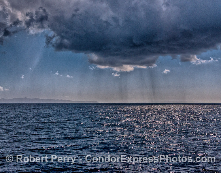 Under the squall - very light rain showers in the Santa Barbara Channel.