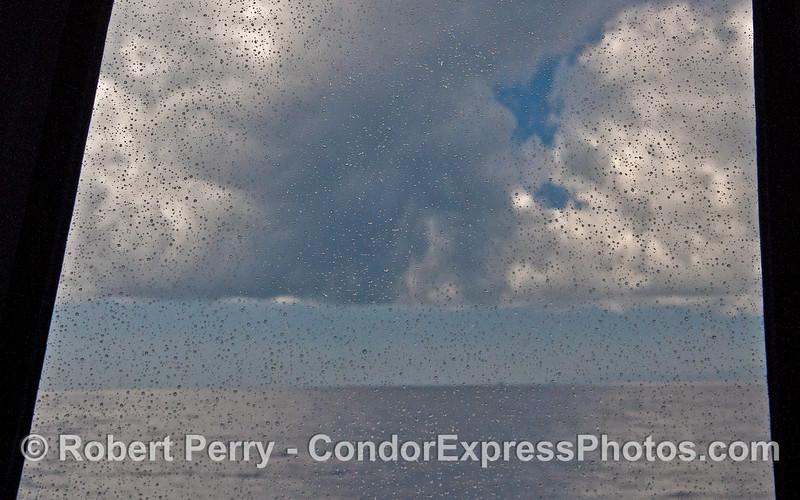 Tiny rain drops on the wheelhouse windows - Condor in a squall.