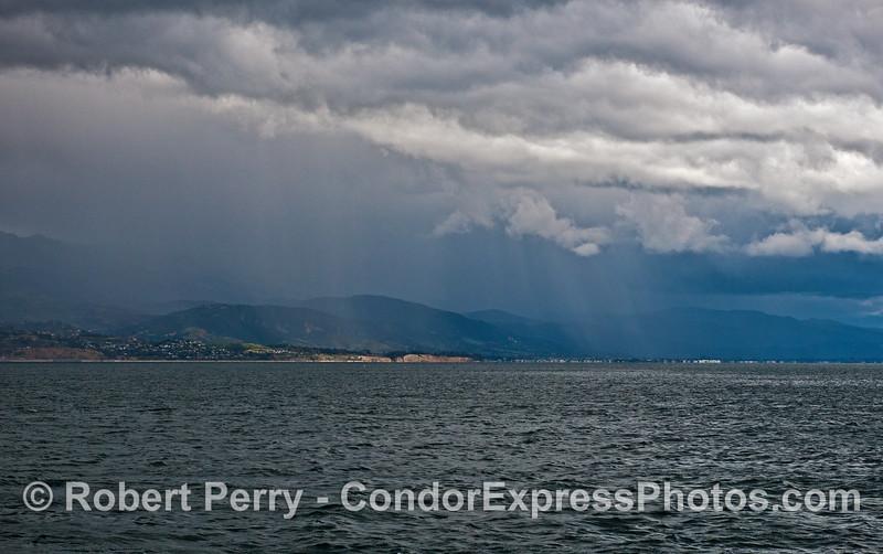 Rain along the coast.