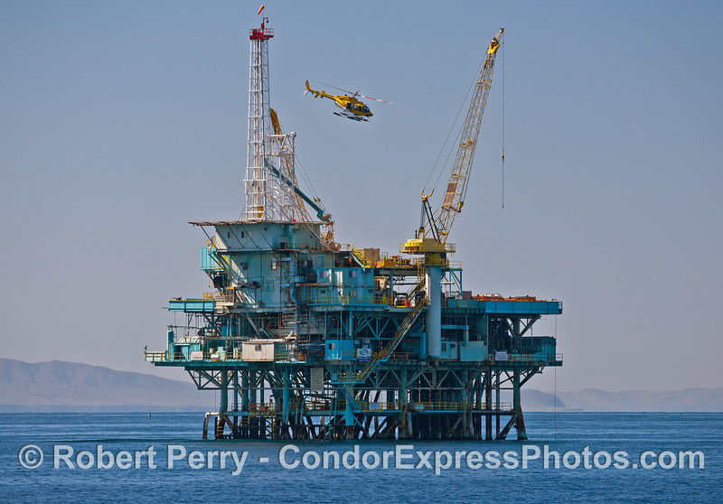 Offshore oil Platform Hillhouse and a yellow helicopter.