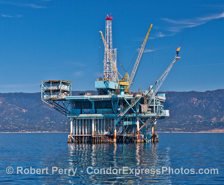 Offshore oil platform Alpha - Santa Barbara Channel - with gas burn off flame.