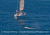 Image 3 of 3:  the sailboat Adagio has nobody at the helm as it steams full speed ahead at a gray whale