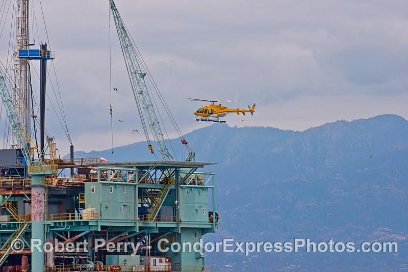 Helicopter lands on Platform Houchin