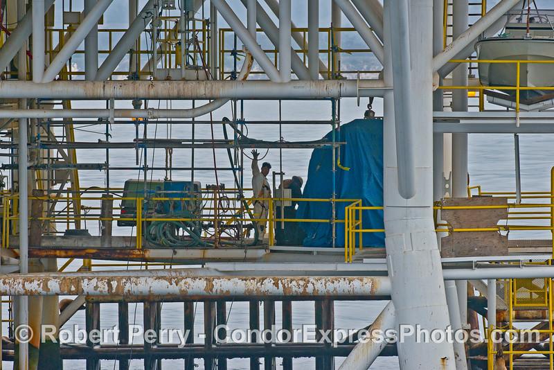 Men at work - offshore oil platform Holly.