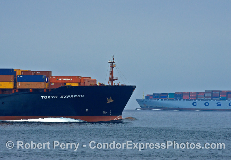 Northbound and southbound container ships pass with a mile between them.