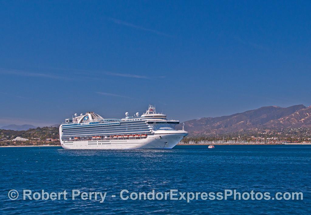 """Cruise ship """"Crown Princess"""" anchored outside Santa Barbara Harbor."""