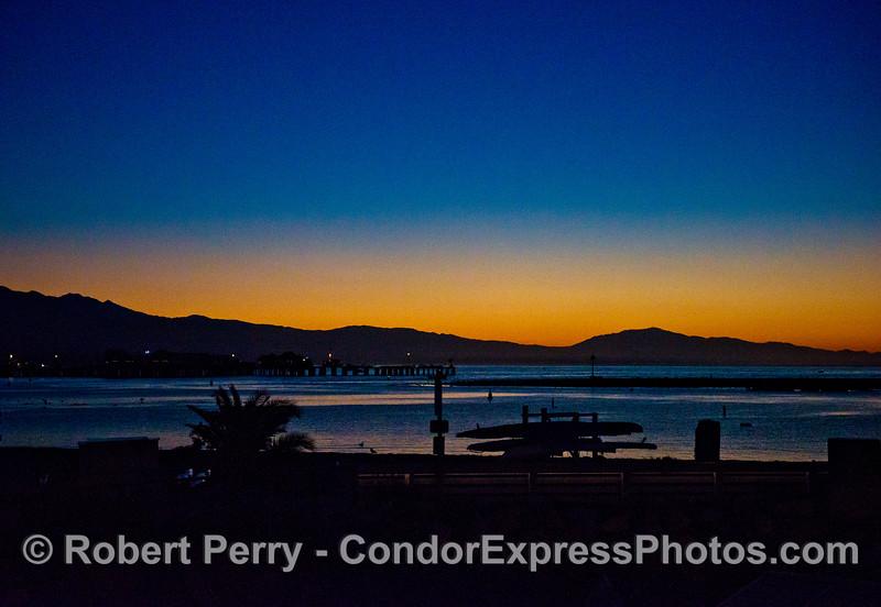 Sunrise - Santa Barbara Harbor - with Stern's Wharf