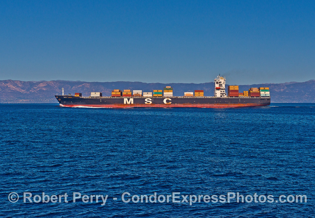 MSC Lisa - a 294.1 meter long, 54,304 gross ton container cargo vessel heading north to Vancouver.