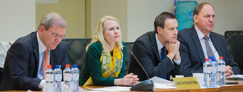 From Left: Ambassador Kurt Jäger, Ambassador of Liechtenstein to Belgium and Head of the Mission of Liechtenstein to the European Union;  Ms Aurelia Frick, Minister of Foreign Affairs, Liechtenstein; Mr Martin Frick, Ambassador, Director of the Office for Foreign Affairs; and Kristinn F. Árnason, Secretary-General,  EFTA Secretariat