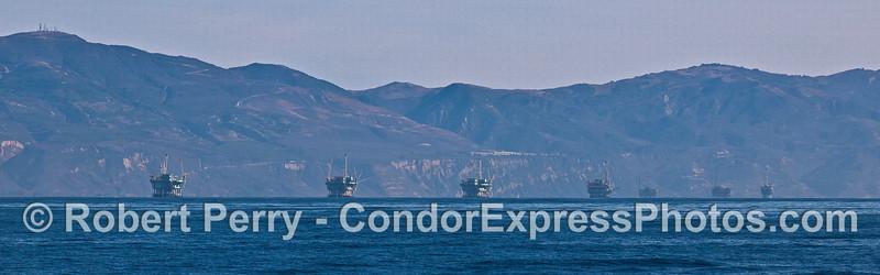 Panorama of the seven offshore oil platforms - Santa Barbara