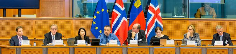 From Left: Mr Marc Bichler, Chair of the EFTA Working Party of the Council, representing the EU President of the EEA Council; Mr Claude Maerten, EU President of the EEA Joint Committee; Ms Amelia Padurariu, Desk Officer, SINEEA delegation; Mr Jørn Dohrmann, Denmark, Member of the European Parliament;  Mr Elfried Hasler, Member of the Liechtenstein Parliament; Anne Margrethe Lund, Temporary Officer at EFTA; Ms Oda Helen Sletnes, President-in-Office of the EEA Joint Committee, also representing the President-in-Office of the EEA Council; and Mr Sven Erik Svedman, President of the EFTA Surveillance Authority