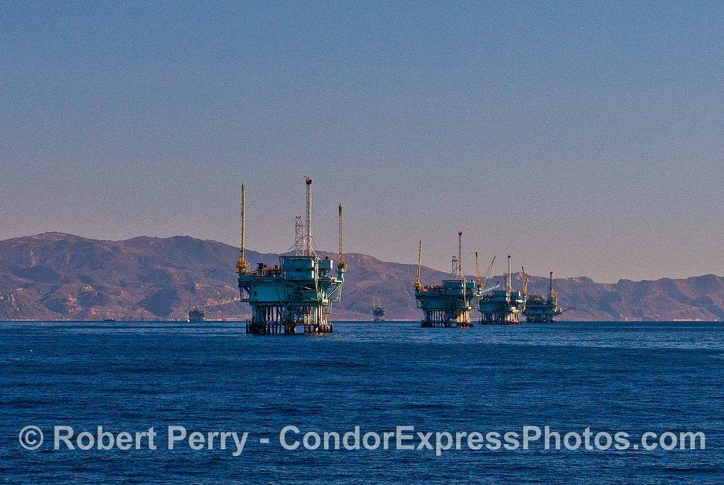 The rig line.  Offshore oil and gas platforms C, B, A, and Hillhouse.