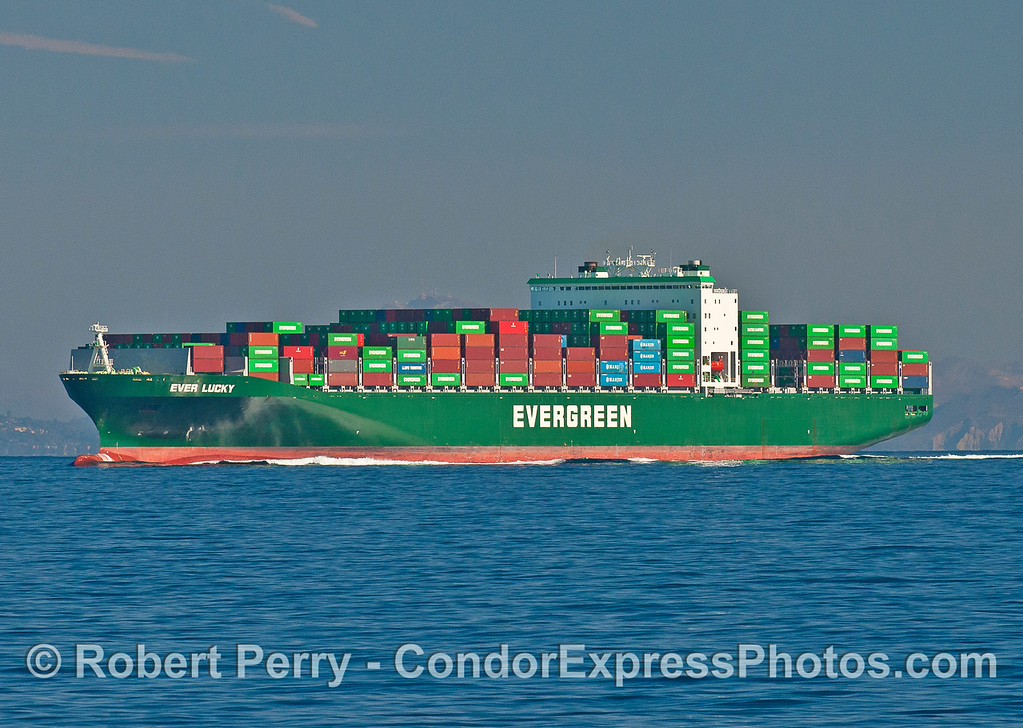 "Container ship ""Ever Luck"" on its way north to Oakland."