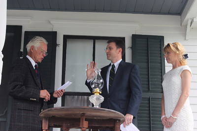 Christopher C  Jeter, great-grandson of Calvin and Grace Coolidge, stands in for the President during our reenactment of the Homestead Inauguration of President Coolidge