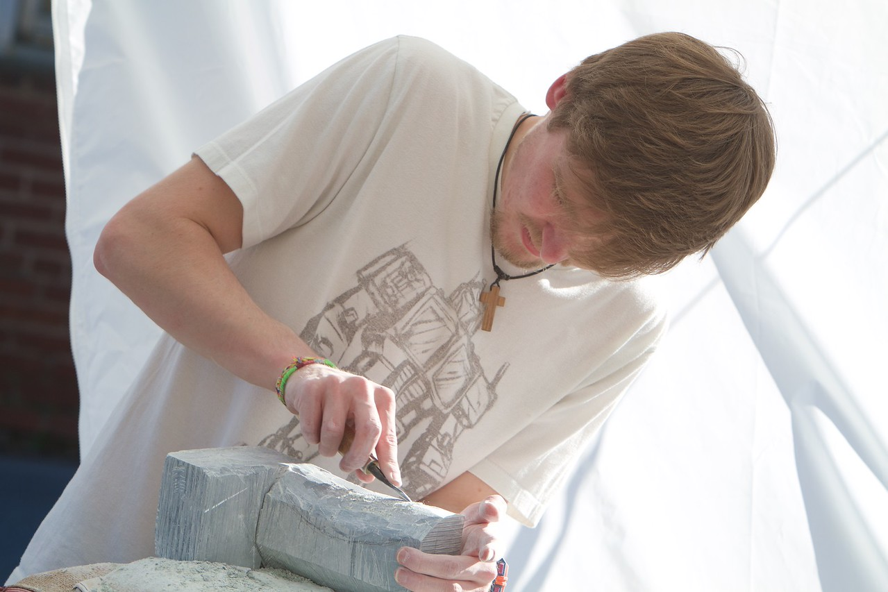 Stonecutting and working, sculpting art class 2015
