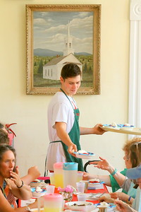 IMG_1956 charlie bollinger, serving strawberry shortcake,,dinner is fundraiser for North Pomfret United Church of Christ