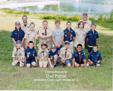 Camp Resolute, Owl Patrol Webelos Overnight Week 2015