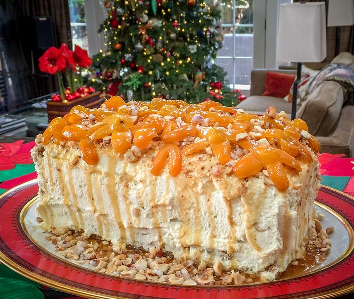 Hazelnut Crunch Cake with Honeyed Kumquats - really delicious - thanks, JM