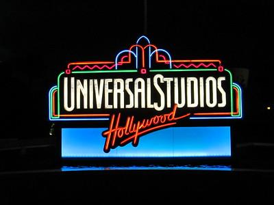 A Retro Looking Neon Universal Studios Hollywood Sign, California