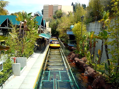 Boats Loading Up at the Jurassic Park River Adventure, Universal Studios Hollywood