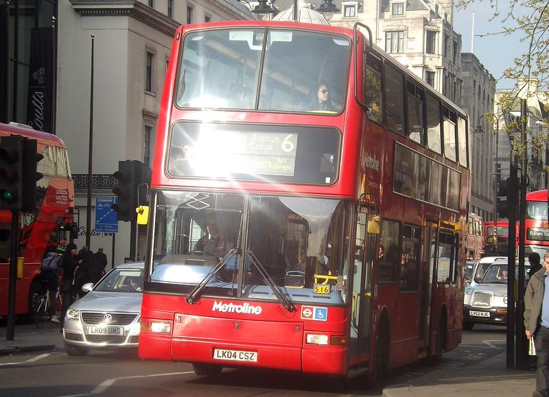 Metroline Dennis Trident Plaxton President LK04CSZ VP524 at Charing Cross on the 6 to Willesden, London.