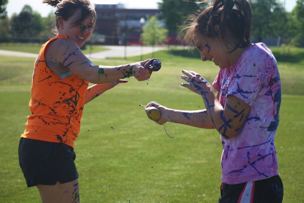 Students participate in a paint fight sponsored by the Junior class SGA.