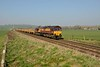 9 April 2015 :: The daily engineers train from Westbury to Eastleigh (6O41) is seen near Bapton powered by 66007