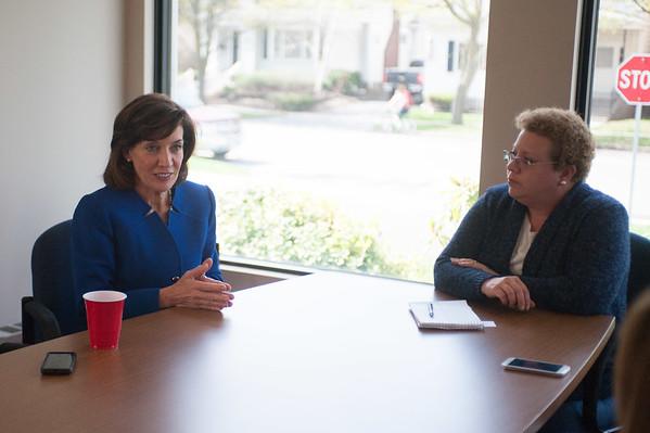 JOED VIERA/STAFF PHOTOGRAPHER-Lockport, NY-Lieutenant Governor Kathy Hochul speaks to Joyce Miles and the US&J Staff.