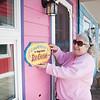 JOED VIERA/STAFF PHOTOGRAPHER-Olcott Beach, NY-Nancy Webb prepares Cameron's Lakeside Ice Cream Shop for Saturday.