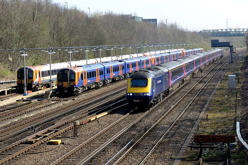 6 April 2015 :: Passing Barton Mill Carriage Sidings is 1V36, the 1007 from Waterloo to Plymouth with 43147 leading the train