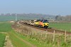 9 April 2015 :: An addition train today was 6C30 from Claydon LNE Jn to Eastleigh and was routed via the Wylye Valley.  The train is passing near Bapton headed by 70809 with 70805 at  the rear