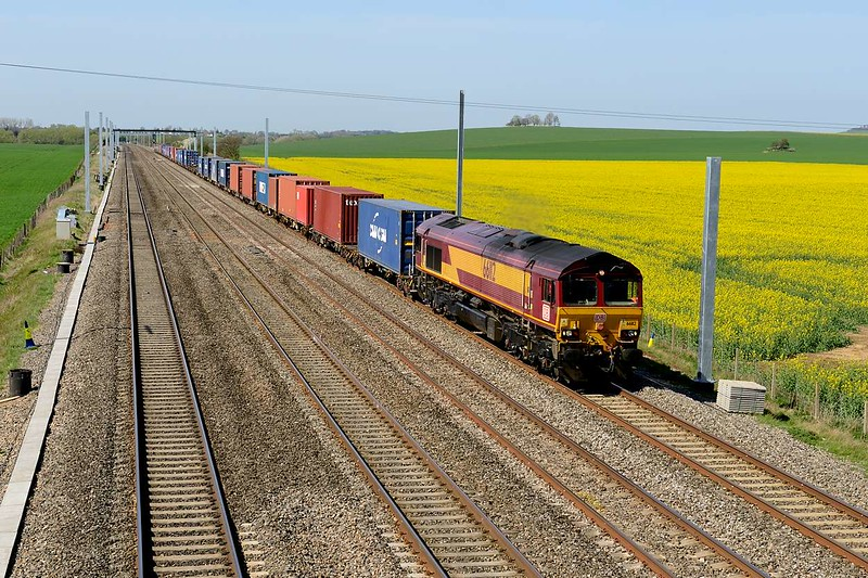 15 April 2015 :: The Trafford Park to Southampton intermodal (4O21) is seen at Cholsey headed by 66112