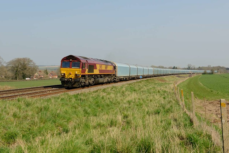 9 April 2015 :: 4M62 from Southampton to Castle Bromwich was another diverted service and is seen at Bapton powered by 66119