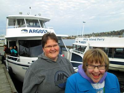 Rachel and Mom on the Deck After Our Seattle Argosy Cruise Tour Around Lake Union and Lake Washington
