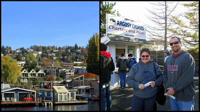 Some Seattle Houseboats, and Dan and my Mom Waiting to Board the Argosy Lakes Cruise