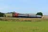 18 August 2015 :: 159104 is pictured in the Wylye Valley near Hanging Langford working 1O32, the 0939 Westbury to Salisbury