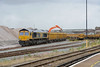 4 August 2015 :: 66738 was booked to work 6M26 from here at Eastleigh to Mountsorrel but the wagons were still being unloaded over 90 minutes after the train was scheduled to leave