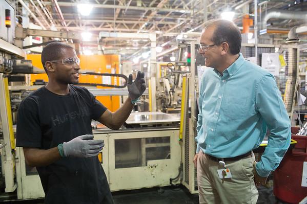 JOED VIERA/STAFF PHOTOGRAPHER-Lockport, NY-Bill Tiger talks with a machine operator Charles Burton (left) at the GM Plant.