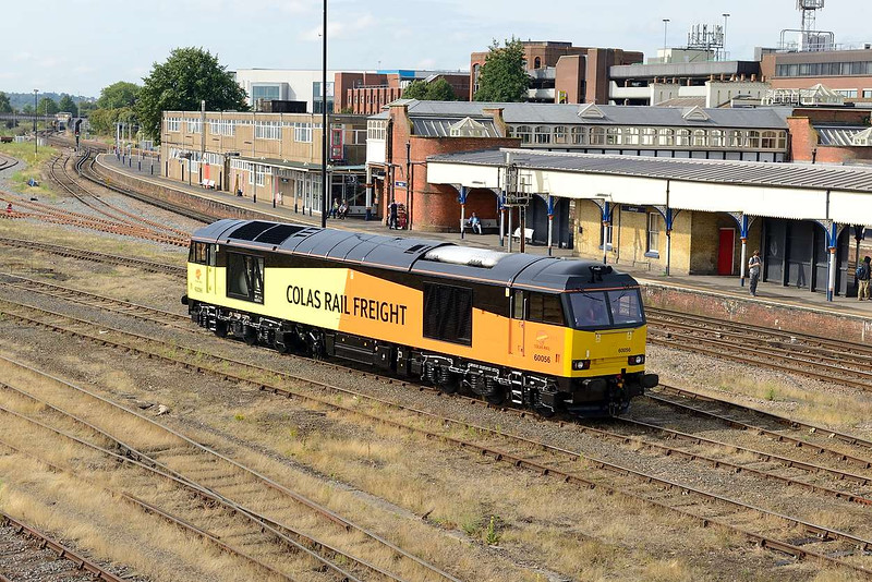 12 August 2015 :: Colas Rail Freight 60056 is pictured at the stabling point by Eastleigh Station