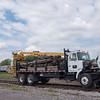 JOED VIERA/STAFF PHOTOGRAPHER-Lockport, NY-Falls Road Railroad Company truck holds materials for construction on the tracks at Niagara Street.