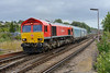 4 August 2015 :: 66114 is seen at Basingstoke working the train of Mini's for export, 4O39 from Cowley to Southampton