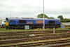 25 August 2015 :: 66750 in a unique GBRf blue livery is seen in the yard at Eastleigh