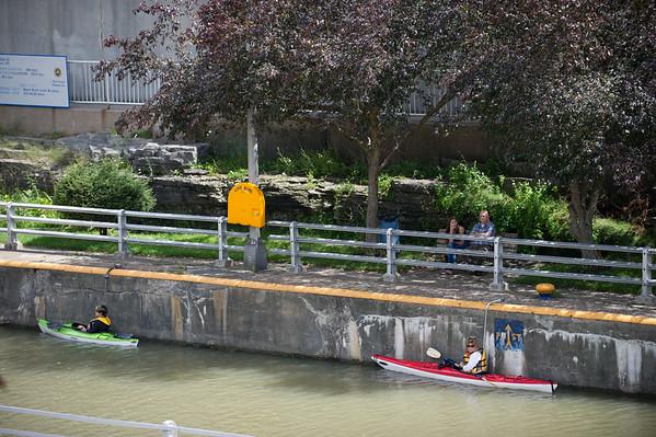JOED VIERA/STAFF PHOTOGRAPHER-Lockport, NY-Kayakers wait for the locks to open.
