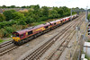 15 August 2015 :: 0X12 locomotive movement from Margam to Eastleigh was unusually routed via Gloucester, Didcot, the B&H line and Westbury today. Here we see the convoy of 6 Class 66's at Didcot with 66145+66132+66152+66085+66035+66124
