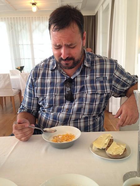 Jonathan trying the Swedish sour milk yogurt