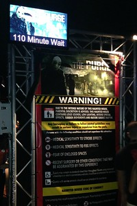 110 Minute Wait Time Sign for the Purge House at Halloween Horror Nights 25