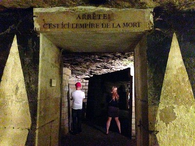 A Sign in the Paris Catacombs Reads, Stop, This is the Empire of the Dead