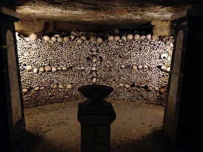 Chamber of Bones at the Famed Catacombs of Paris
