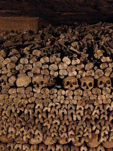 Bones Stacked High in the Catacombs of Paris